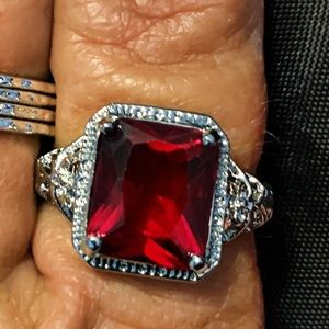 STERLING SILVER RUBY ZIRCON RING